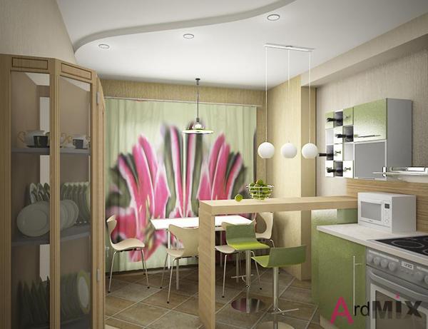 дизайн большой кухни с барной стойкой в частном доме фото