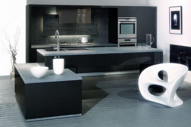 дизайн фото черно белая кухня